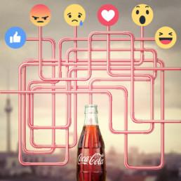 Die Facebook-Reactions clever genutzt, um die Social-Media-Follower von Coke mit einem kleinen Quiz zu unterhalten.