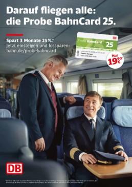 Anzeigenidee begleitend zum Fernsehspot im neuen Corporate Design der Deutschen Bahn. Hochwertig und dennoch promotionale Abverkaufskommunikation.
