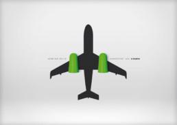 Anzeigen- und Plakat-Motiv Flugzeug (illustriertes Keyvisual) innerhalb der Printkampagne für die Ohrstöpsel von Würth.