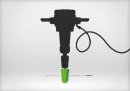 Anzeigen- und Plakat-Motiv Wecker innerhalb der grafischen Printkampagne für die Ohrstöpsel von Würth