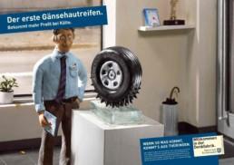 Printanzeige mit Illustration für den Gänsehautreifen. Anzeigen- und Outdoor-Werbung für das Bundesland Thüringen.