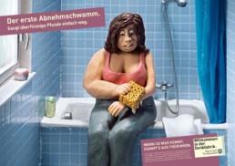 Ideenentwicklung von Printanzeigen mit Illustration für den Abnehmschwamm. Anzeigen- und Outdoor-Werbung für das Bundesland Thüringen.